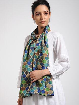 Blue-Green Digital-printed Khadi Silk Stole
