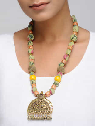 Multicolored Gold Tone Hand Block Printed Necklace with Pendant