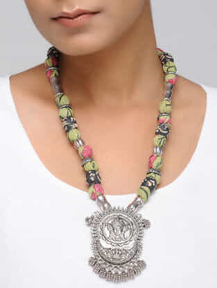 Multicolored Silver Tone Hand Block Printed Necklace with Pendant