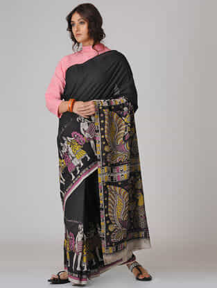 Black-Mustard Kalamkari-printed Cotton Saree