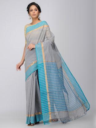 Grey-Turquoise Mangalgiri Cotton Saree with Zari