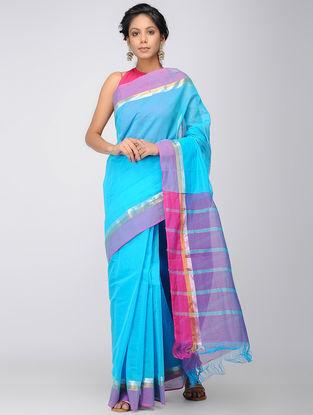 Blue-Purple Mangalgiri Cotton Saree with Zari