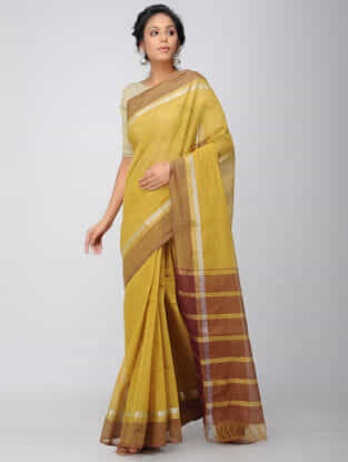 Yellow-Maroon Mangalgiri Cotton Saree with Zari