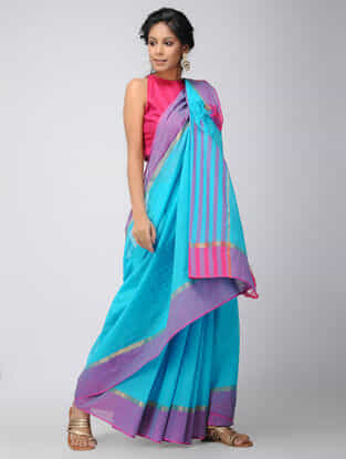 Turquoise-Purple Mangalgiri Cotton Saree with Zari
