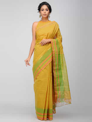 Yellow-Green Mangalgiri Cotton Saree with Zari