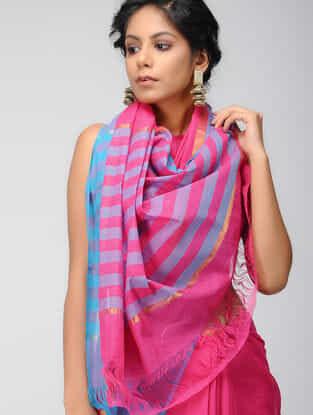 Pink-Blue Mangalgiri Cotton Saree with Zari