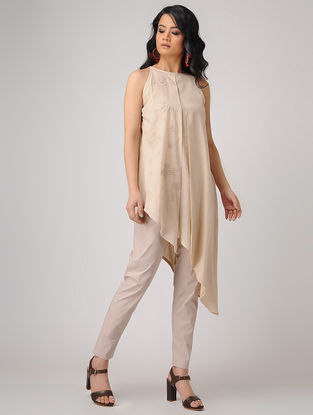 Pink Embroidered Cotton Tunic with Asymmetrical Hem