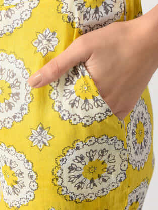Yellow Elasticated Waist Printed Cotton Pants