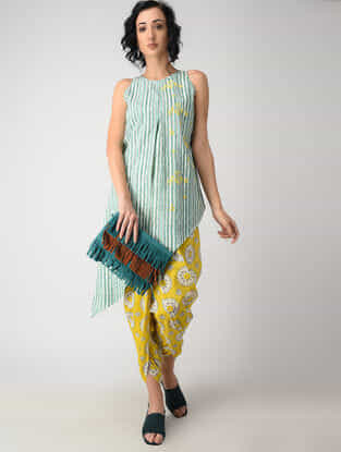 Green Striped Cotton Kurta with Embroidery