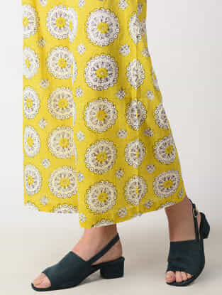 Yellow Elasticated Waist Printed Cotton Palazzos