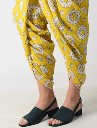 Yellow Elasticated Waist Printed Cotton Dhoti Pants