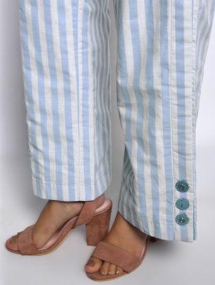 Blue-Ivory Striped Cotton Pants