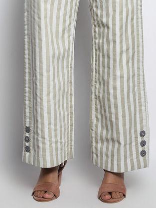 Green-Ivory Striped Cotton Pants