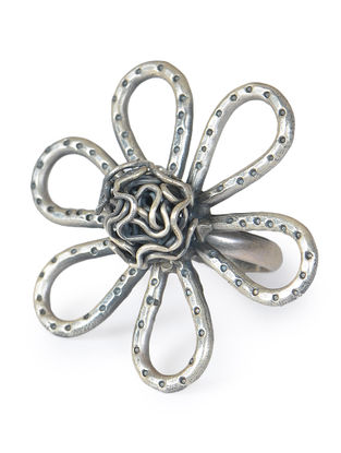 Floral Silver Ring (Ring Size - 7)