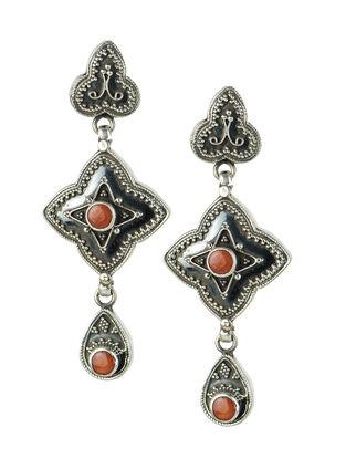 Red Silver Earrings