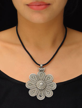 Floral Silver Pendant with Thread