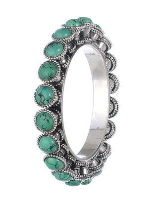Bold Turquiose Silver Bangle (Bangle Size - 2/6 )