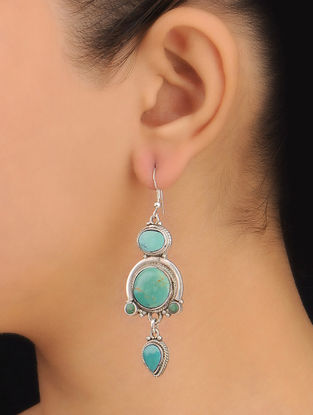 Pair of Ethno Turquiose Silver Earrings