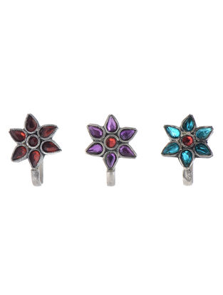 Floral Silver Clip-On Nose Pins - Set of 3