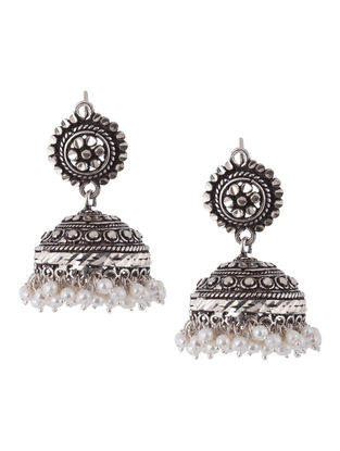 Ethno Pearl Silver Jhumkis by Silver Streak