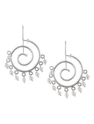 Spiral Pearl Silver Earrings by Silver Streak