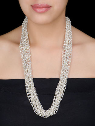 Multistring Pearl Silver Necklace by Silver Streak