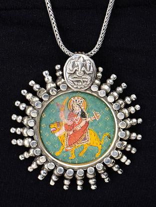 Goddess Durga Silver Pendant