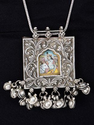 Lord Krishna Silver Pendant