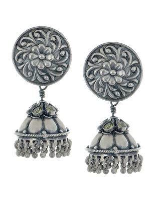 Peridot Floral Silver Jhumkis