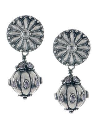 Floral Drop Amethyst Silver Earrings