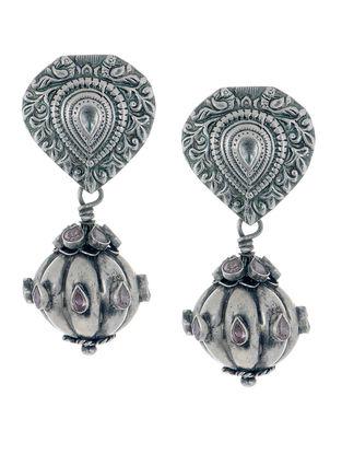 Ethno Drop Silver Earrings