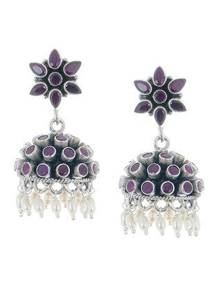 Floral Drop Ruby Silver Earrings