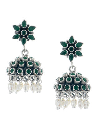 Emerald Floral Silver Jhumkis