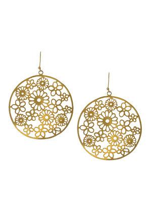 Floral Jali Silver Earrings