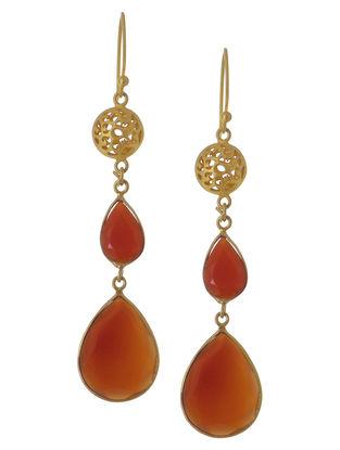 Red Onyx Drop Silver Earrings