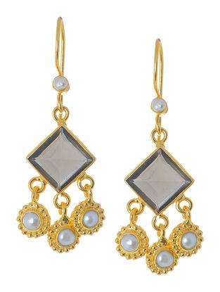 Smoky Quartz-Pearl Silver Earrings