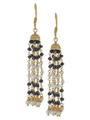 Pearl-Black Onyx Dangler Silver Earrings