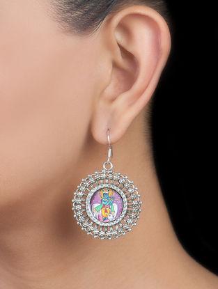 Lord Krishna Silver Earrings