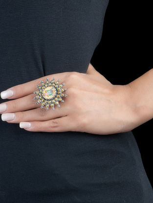 Lord Krishna Adjustable Silver Ring
