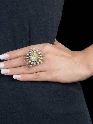 Radha-Krishna Ji Adjustable Silver Ring