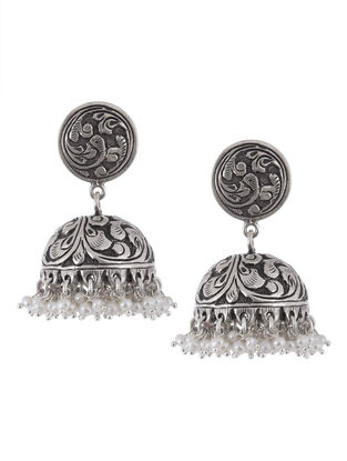 Floral Pearl Silver Jhumkis by Silver Streak