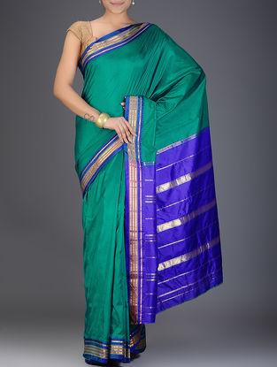 Green-Blue Narayanpet Silk Saree with Zari Border