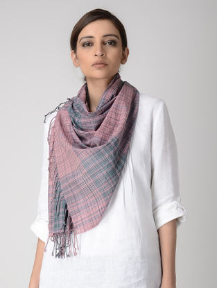 Pink-Green Cotton Stole