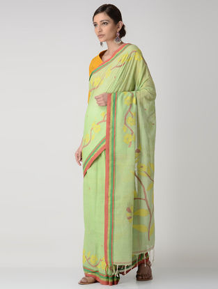 Green-Pink Jamdani Cotton Saree