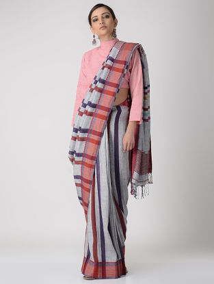 Grey-Red Linen Saree with Woven Border