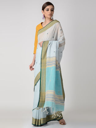Ivory-Blue Cotton Saree with Woven Border