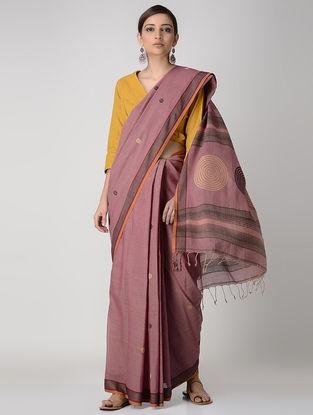 Pink-Beige Cotton Saree