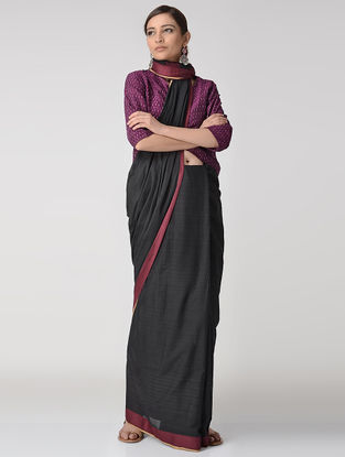 Black-Pink Cotton Saree with Woven Border
