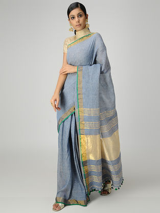 Blue Cotton Linen Saree with Zari and Tassels