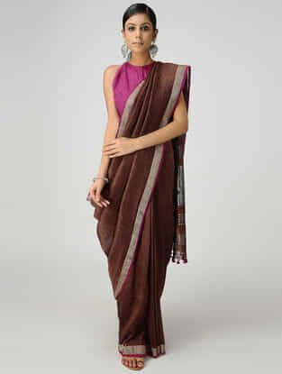 Maroon Cotton Linen Saree with Zari and Tassels